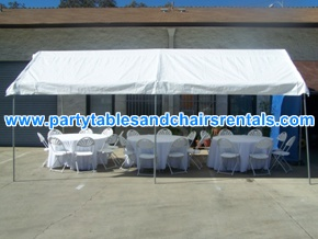 White party tents, round folding tables and chairs with covers for rent los angeles orange county