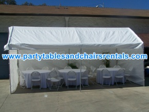 White party tents with walls, round folding tables and chairs with covers for sale